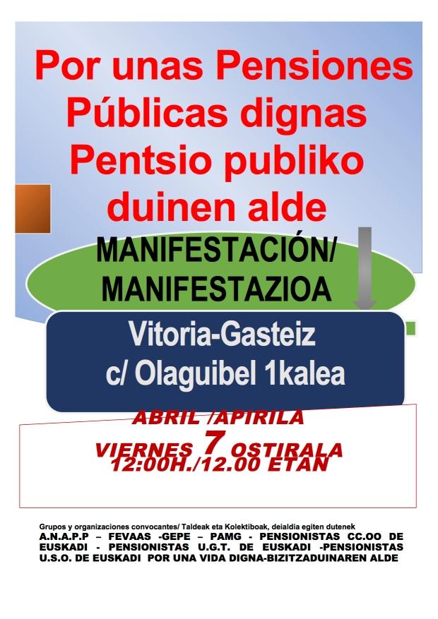 Cartel manifestación pensiones dignas